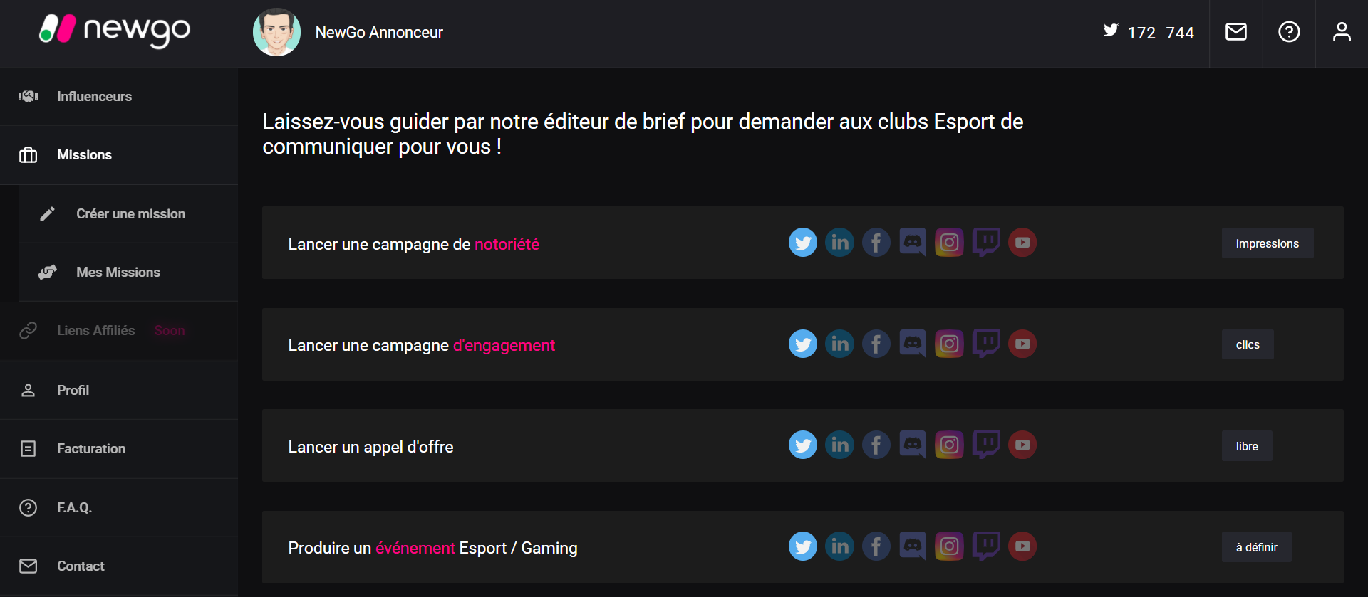 Campagne d'influence esport